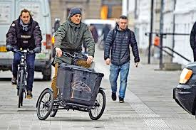 His Royal Highness the Crown Prince of Denmark riding the cargo bike!